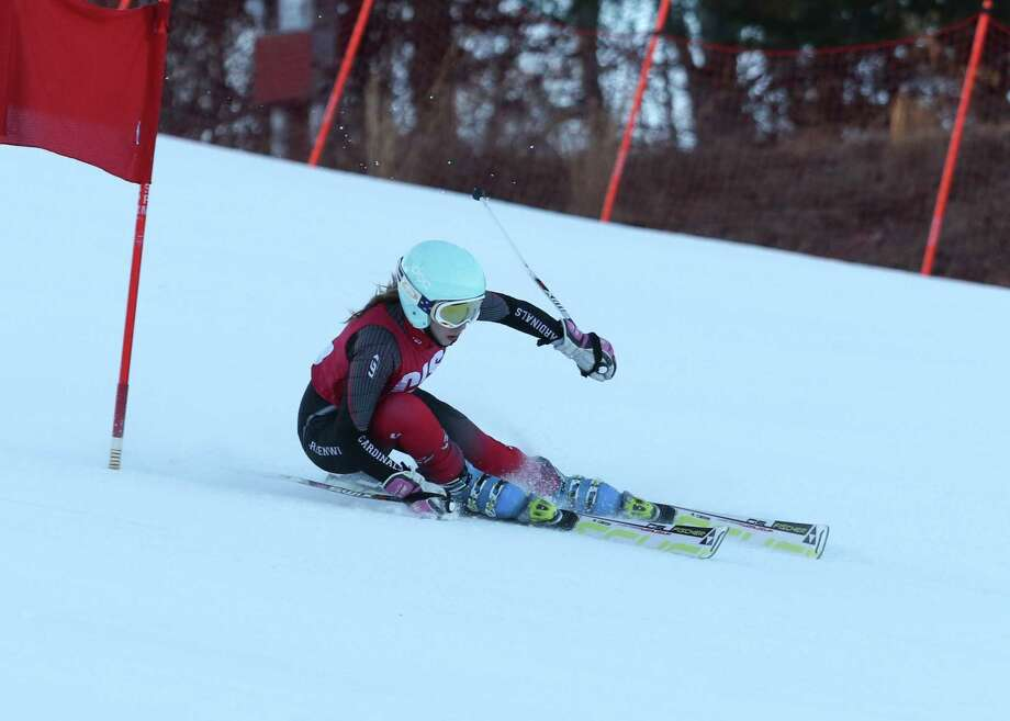 Sophia Bastek, a junior, has helped power the Greenwich High School girls skiing team to a record of 16-2. Photo: Contributed Photo
