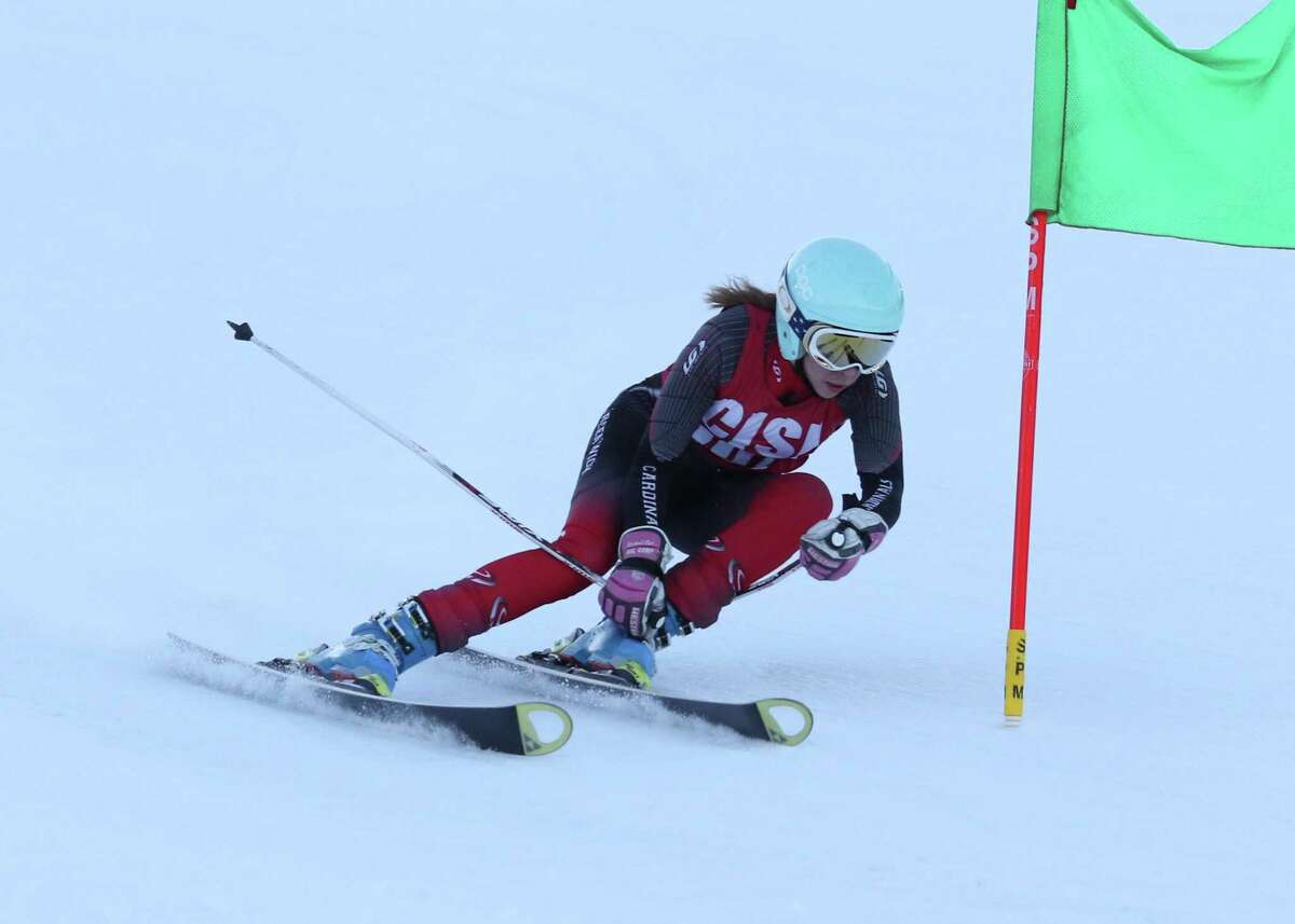 Sophia Bastek, a junior, has helped power the Greenwich High School girls skiing team to a record of 16-2.