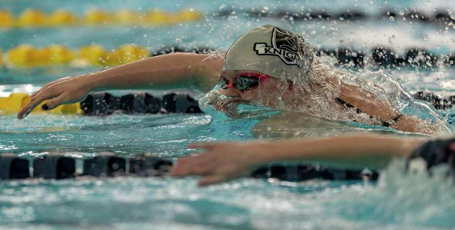 Steele's Evelyn Bruner competes Thursday afternoon, Jan. 23, 2020 in the  100 yard freestyle during the District 26-6A swimming meet NEISD's Bill Waller Pool. Photo: William Luther /Staff Photographer / ©2020 San Antonio Express-News