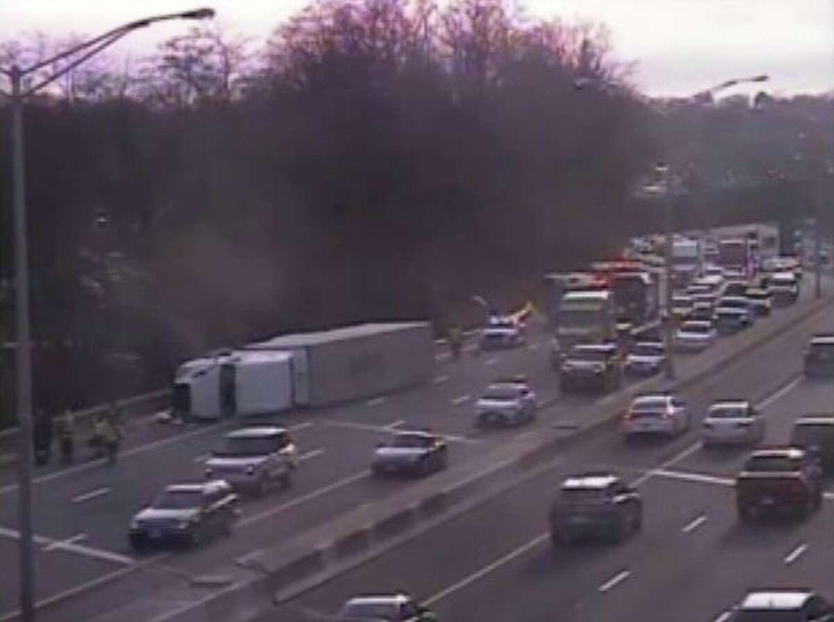 The scene of the I-84 semi-truck rollover in Danbury on Jan. 30, 2020.