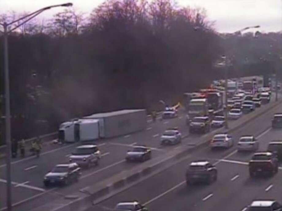 The scene of the I-84 semi-truck rollover in Danbury on Jan. 30, 2020. Photo: CT Travel Smart