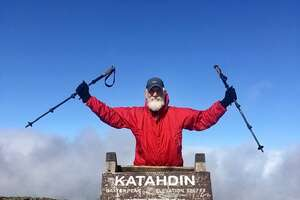 "Troy resident Carl Klinowski, whose trail name was ""Mammoth,"" finished his hike of the Appalachian Trail on Mount Katahdin in Maine last October. (Courtesy of Carl Klinowski)"