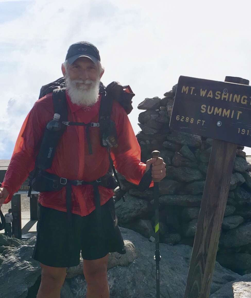 Carl Klinowski finished his hike of the Appalachian Trail on Mount Katahdin in Maine last October. The Troy resident had to stretch his trek over two years after suffering a stress fracture in one leg his first year out. (Courtesy of Carl Klinowski)