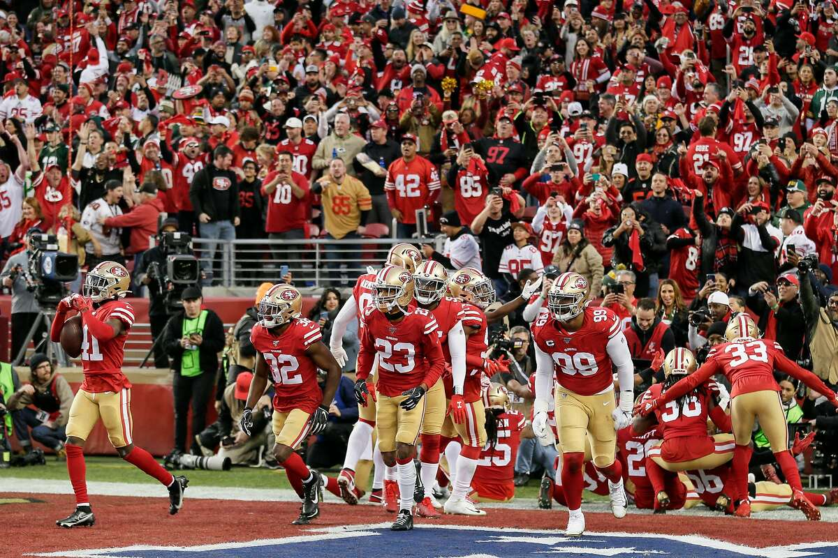 San Francisco 49ers' Emmanuel Moseley reacts after his interception near the middle of the field in the second quarter during the NFC Championship game between the San Francisco 49ers and the Green Bay Packers at Levi's Stadium on Sunday, Jan. 19, 2020 in Santa Clara, Calif.