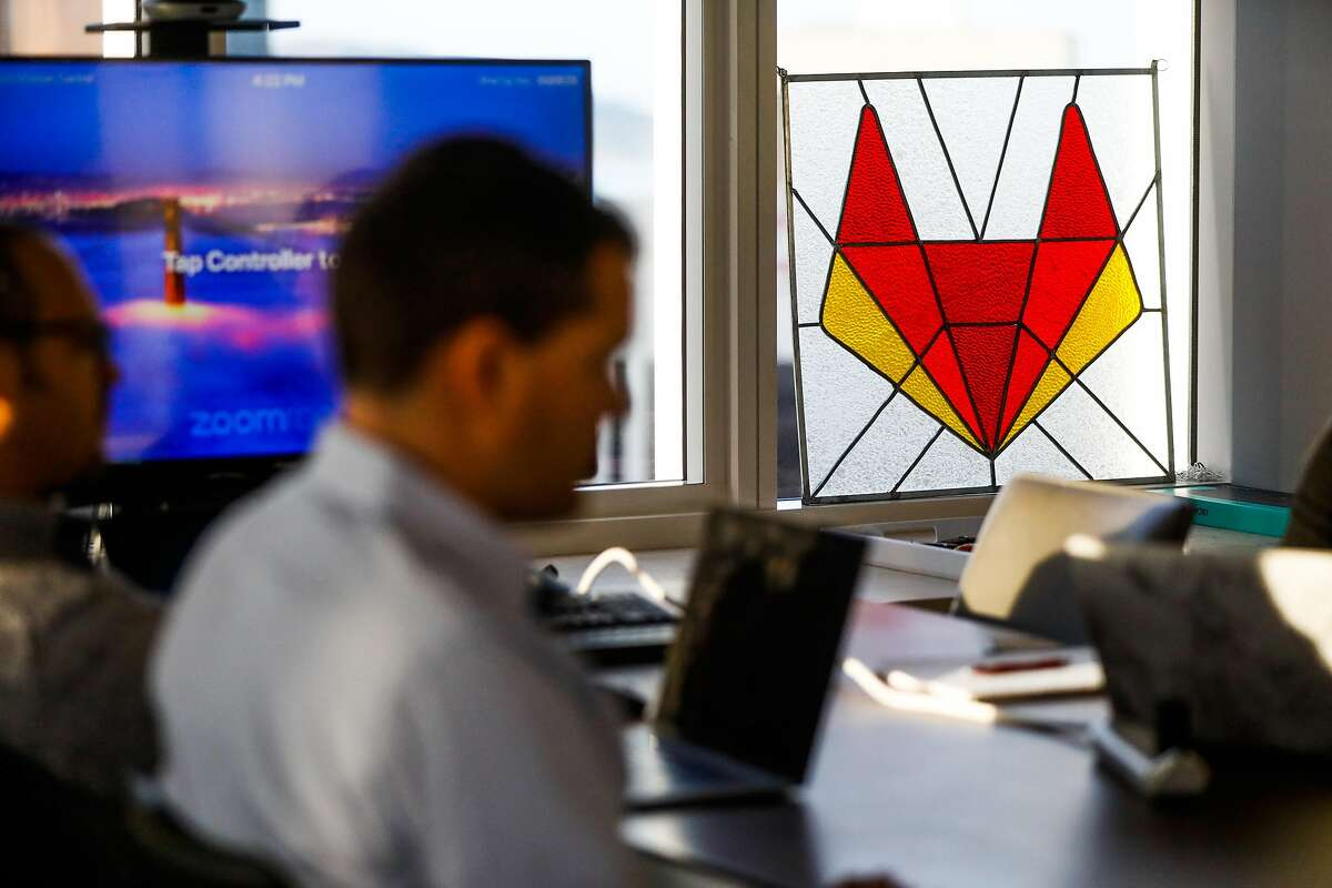A stained glass piece of art with the GitLab logo is seen in CEO and founder Sid Sijbrandij's home and office in San Francisco.