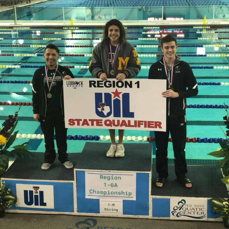 Midland High sophomore Nicholas Stone stands atop the podium after winning the boys 1-meter diving title at the Region I-6A meet Thursday at the Pete Ragus Aquatic in Lubbock. Photo: Courtesy Photo