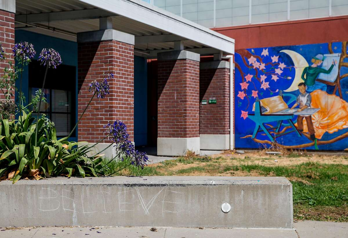 """The word """"believe"""" is chalked on a ledge near the Art Center on campus at Laney College in Oakland, Calif. Friday, Aug. 31, 2018."""
