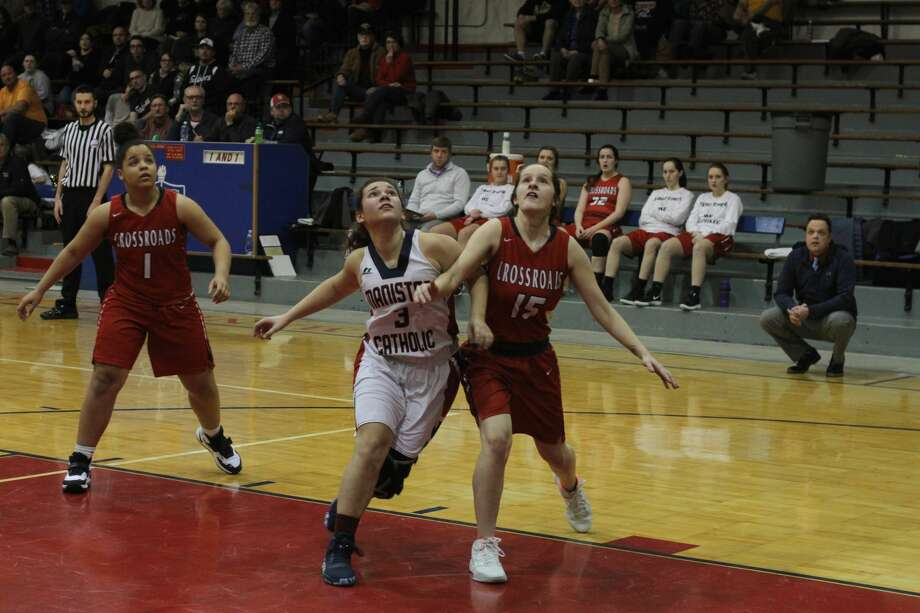 The ManisteeCatholic Central girls basketball team fell to Big Rapids Crossroads on Thursday, Jan. 30, 2020. Photo: Dylan Savela/News Advocate