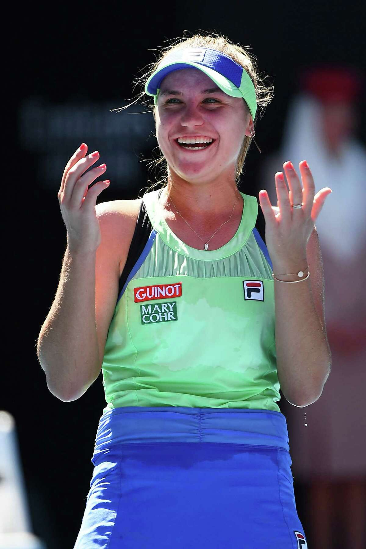 MELBOURNE, AUSTRALIA - JANUARY 30: Sofia Kenin of the United States celebrates after winning her Women's Singles Semifinal match against Ashleigh Barty of Australia on day eleven of the 2020 Australian Open at Melbourne Park on January 30, 2020 in Melbourne, Australia. (Photo by Quinn Rooney/Getty Images)