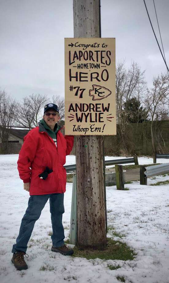 Bill Cymbal and his adult son, John Cymbal, decided it would be a shame if the small Midland County community of LaPorte didn't show some conspicuous public support for one of its own, Andrew Wylie, who's getting ready for the Super Bowl.