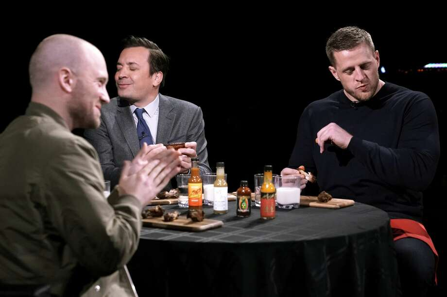"PHOTOS: More from J.J. Watt's appearance on ""The Tonight Show Starring Jimmy Fallon"" The Texans' J.J. Watt and Jimmy Fallon played a round of ""Hot Ones"" with the host of the show Sean Evans as they tried to answer questions while eating unbelievably spicy chicken wings on The Tonight Show Starring Jimmy Fallon on Thursday, Jan. 30, 2020. Browse through the photos above to see more of J.J. Watt's appearance on the late-night show ... Photo: NBC/NBCU Photo Bank Via Getty Images"