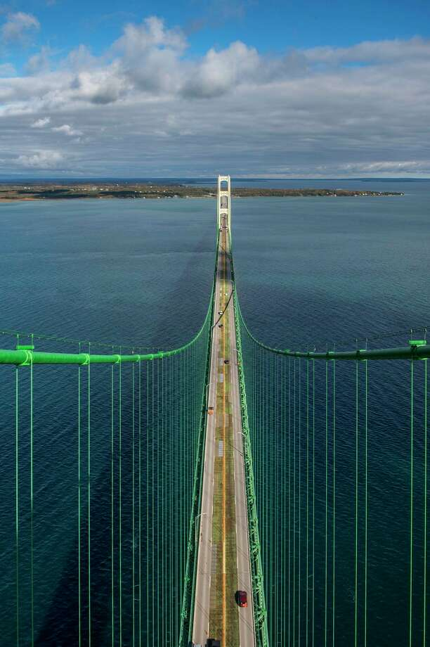 A view of the Mackinac Bridge taken from the top of one of the 552-foot north support towers. The Gladwin County Community Foundation is offering a tower tour in a fundraiser raffle to be held Saturday, Feb. 1. The raffle winner will get one certificate granting access for two people to visit the top of the north tower. (Photo provided) / © State of Michigan - Michigan Department of Transportation - Office of Communications
