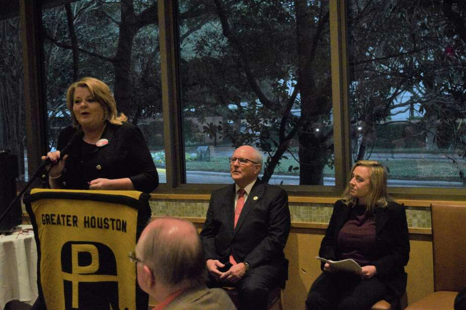 Brenda Stardig, Tom Ramsey and Susan Sample, Republican candidates for Harris County Precinct 3 Commissioner, speak about utilizing tax dollars correctly and speeding up the flood bond project process during a Greater Houston Pachyderm Club lunch at Tony's on Jan. 28, 2020. Photo: Chevall Pryce