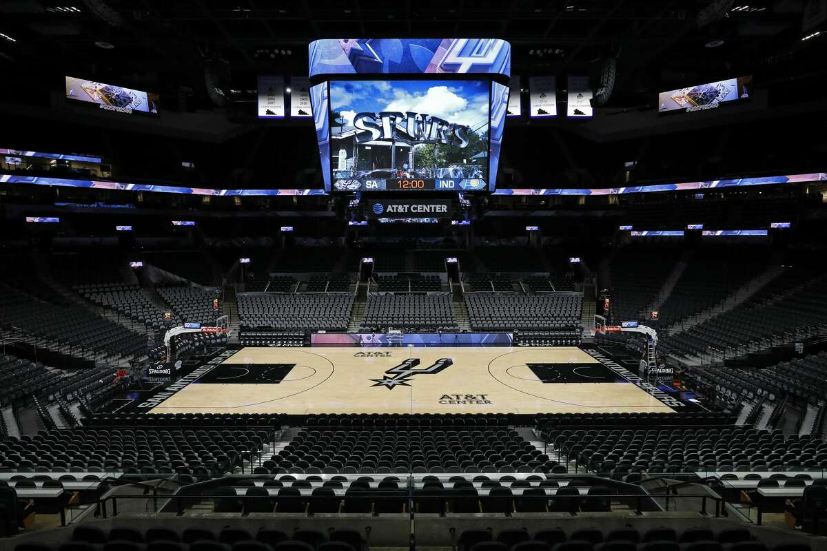 A view of the San Antonio Spurs court in the AT&T Center before a game against the Indiana Pacers on October 24, 2018 in San Antonio, Texas.