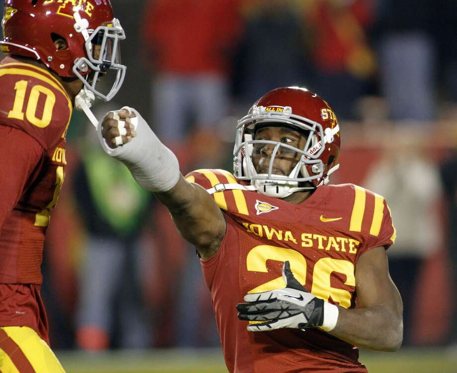 AMES, IA- OCTOBER 27: Defensive back Deon Broomfield #26 of the Iowa State Cyclones celebrates late in the fourth quarter after intercepting the ball from the Baylor Bears on October 27, 2012 at Jack Trice Stadium in Ames, Iowa. Iowa State defeated Baylor 35-21. (Photo by Matthew Holst/Getty Images) Photo: Matthew Holst/Getty Images