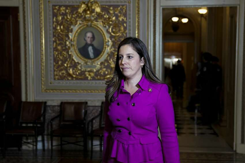 WASHINGTON, DC - JANUARY 23: Rep. Elise Stefanik (R-NY) walks to an office being used by President Donald Trump's defense team off the Senate floor during the impeachment trial of President Donald Trump at the U.S. Capitol on January 23, 2020 in Washington, DC. Democratic House managers continue their opening arguments on Thursday as the Senate impeachment trial of President Donald Trump continues. (Photo by Drew Angerer/Getty Images)