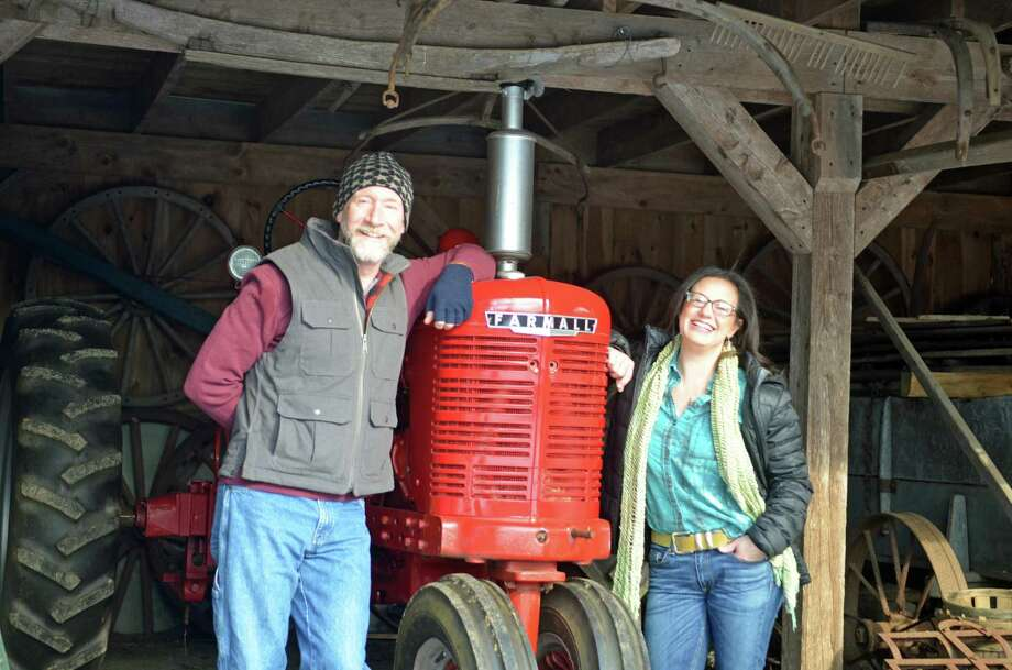Steve Rowe, the newly installed market manager with partner Katrina Bonvini, of the Dudley Farm Farmers' Market, which will host an indoor winter market on Saturday, Feb. 1. Photo: Kelly Goddard / Contributed Photo