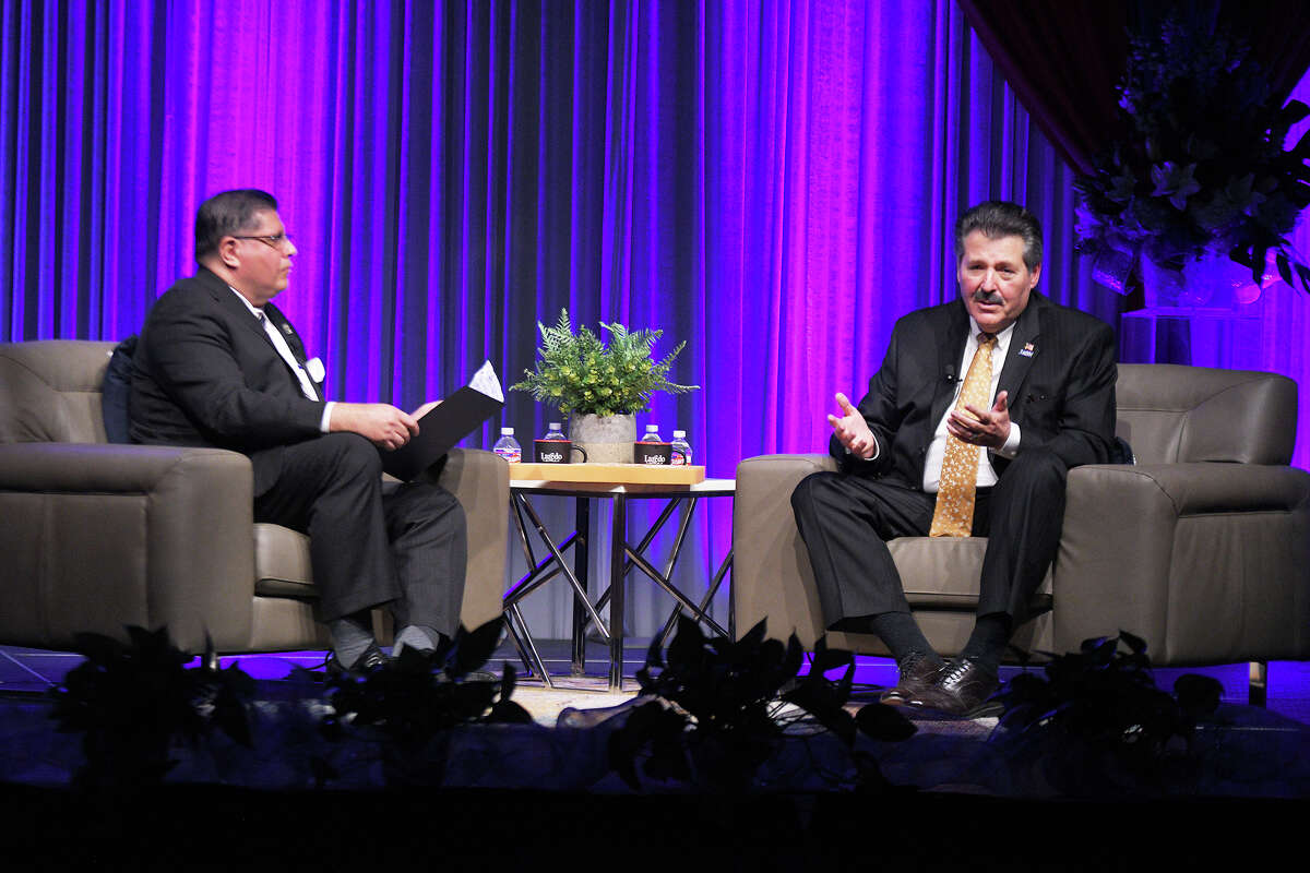 City of Laredo Economic Director Teclo Garcia and Mayor Pete Saenz hold a question and answer session at the State of the City Address at the Sames Auto Arena, Thursday, January 30, 2020.