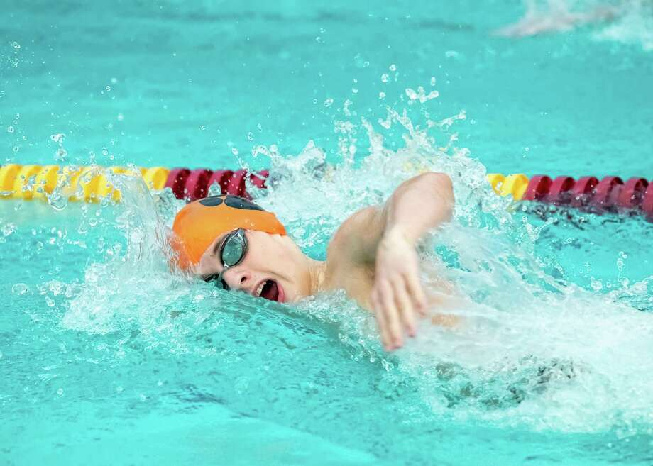 The Ridgefield boys swim team suffered its first loss this season on Wednesday, falling to Greenwich. Photo: Gretchen McMahon / For Hearst Connecticut Media / (C)GretchenMcMahonPhotography