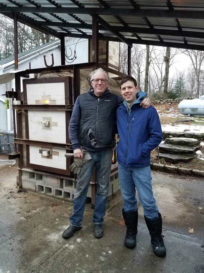 Artist and kiln builder Bruce Dehnert, left, and Silvermine Head of Ceramics, teacher and board member Jon Puzzuoli stand in front of the new kiln. Photo: Silvermine Arts Center / Contributed Photo