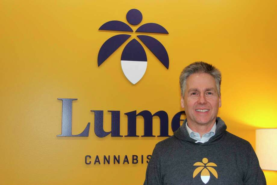 Doug Hellyar, president and chief operating officer ofLume Cannabis Company at the store's ribbon cutting ceremony for the release of adult-use recreational products. (Photo/Colin Merry)