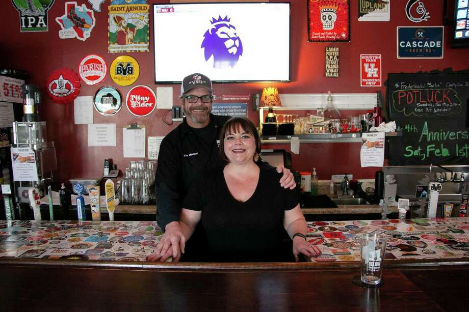 """Dawn Tyler, who proudly claims the role as """"Dutchess of Dank,"""" and Rick Tyler, who preaches his craft as """"Minister of Beer"""" chased a dream they had to open a bar in the Humble area that served artisan and craft beer.At The Hop Stop, customers can find craft beer options from greater Houston, Texas, and the U.S., as well as a few wine options. Photo: Savannah Mehrtens/Staff Photo / Savannah Mehrtens/Staff Photo"""