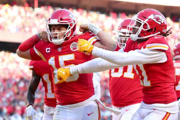 KANSAS CITY, MISSOURI - JANUARY 19: Patrick Mahomes #15 of the Kansas City Chiefs reacts after running for a 27 yard touchdown in the second quarter against the Tennessee Titans in the AFC Championship Game at Arrowhead Stadium on January 19, 2020 in Kansas City, Missouri. (Photo by Tom Pennington/Getty Images)