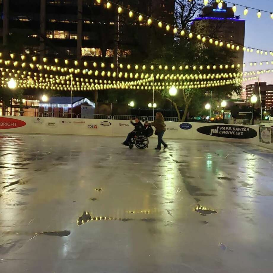 "Christopher John Sandoval kept repeating to his niece how ""happy"" he was as she was wheeling him around at the downtown ice skating rink on Monday. Photo: Hilary Sandoval"