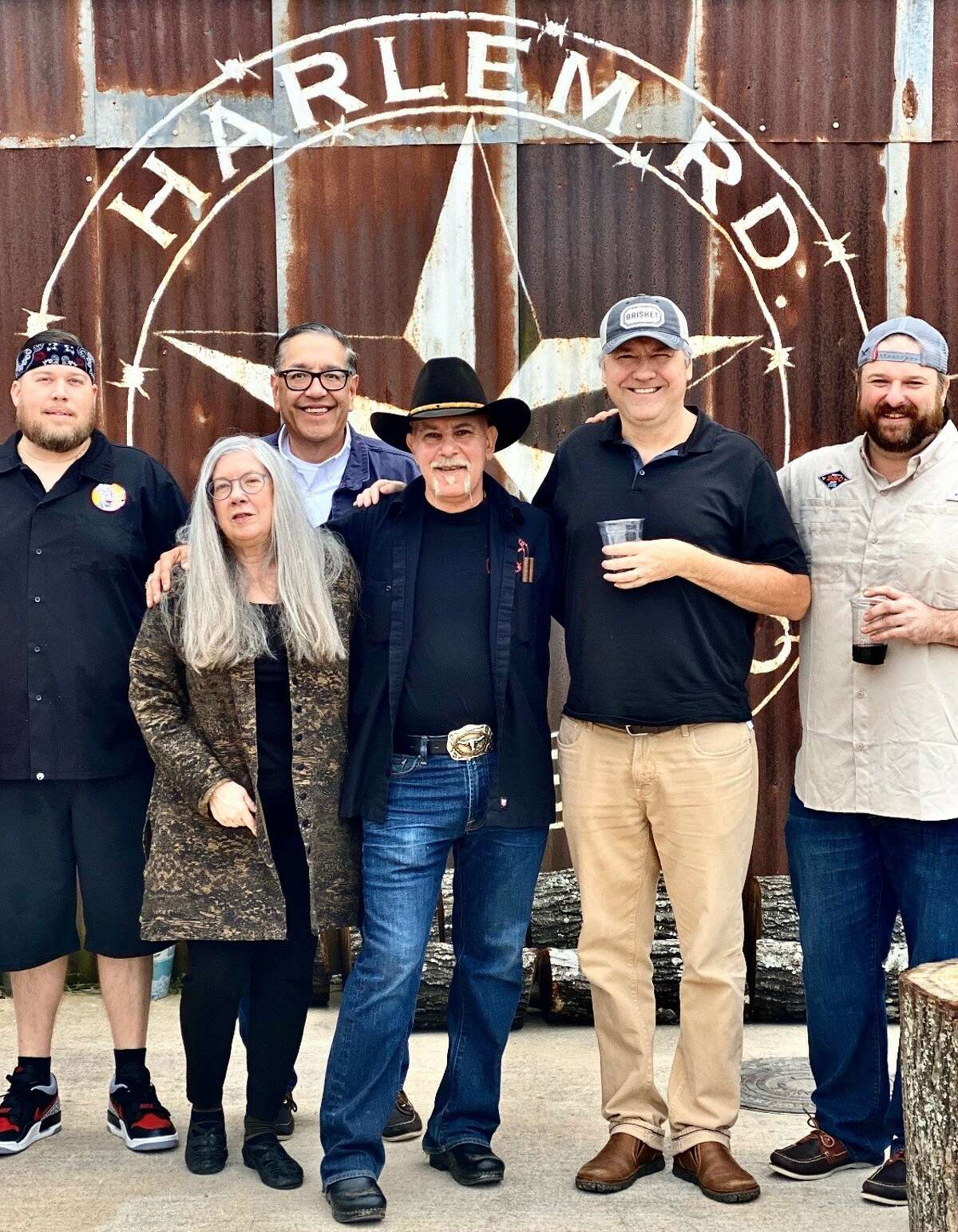 The BBQ State of Mind Podcast visited Harlem Road Texas BBQ in Richmond to talk about the growth of craft barbecue in the Katy area. Left to right: Chef Randy Duncan of Daddy Duncan's BBQ in Katy; Chronicle restaurant critic Alison Cook;Chronicle food editor Greg Morago; chef Ara Malekian of Harlem Road; Chronicle barbecue columnist J.C. Reid; and pitmaster Brett Jackson of Brett's BBQ Shop in Katy.