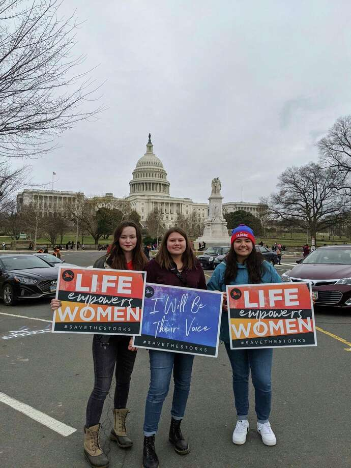 (Shown left to right) Bergen Johnson, Kaya Watkins and Elena Pizana attended the national March For Life in Washington D.C. last week. (Michelle McComb courtesy photo)