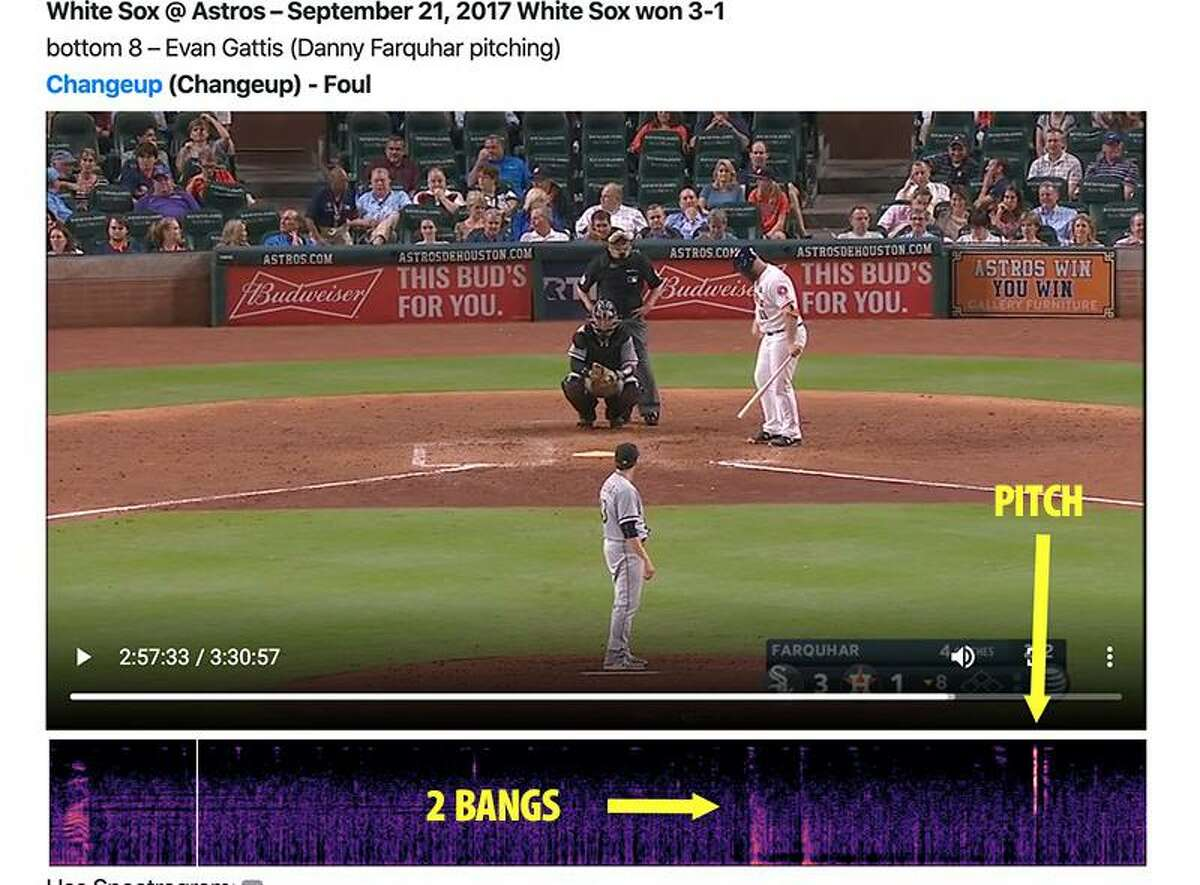 This image from Tony Adams' research is the last pitch from Danny Farquhar of the White Sox to Evan Gattis before Farquhar realized the Astros were signaling his pitches.