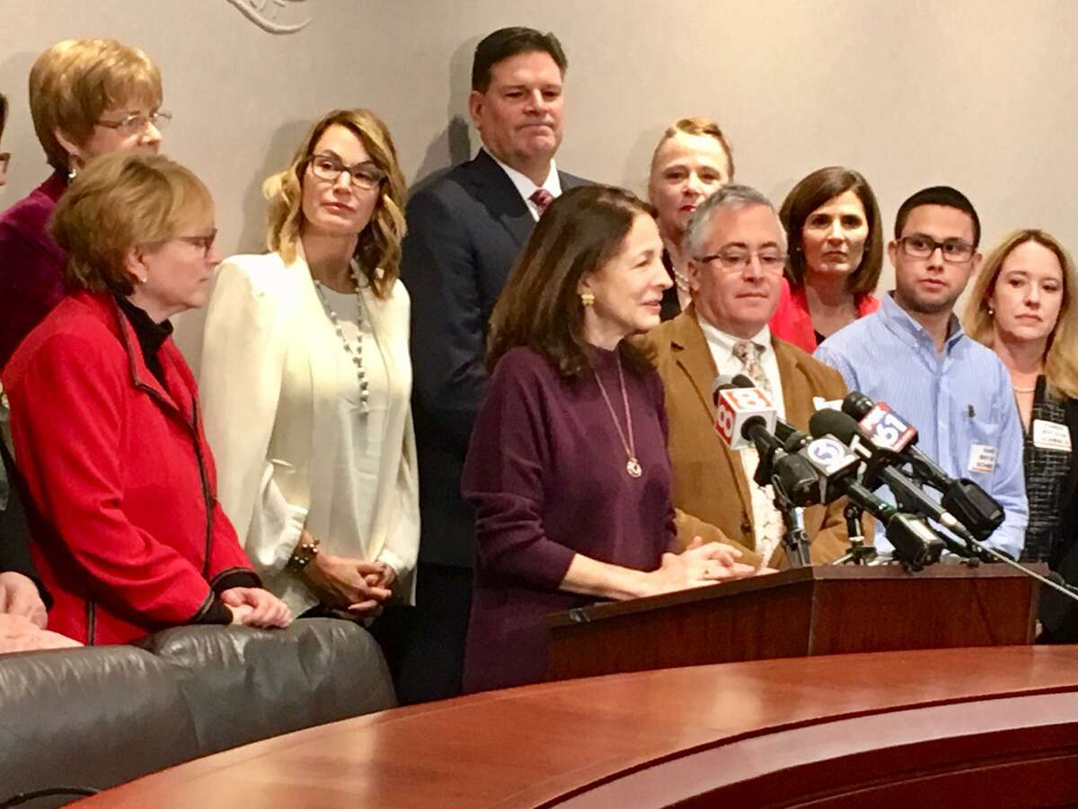 A press conference staged by state. Rep. Gail Lavielle, R-Wilton, in opposition to what she sees as a forced school regionalization effort in 2019.