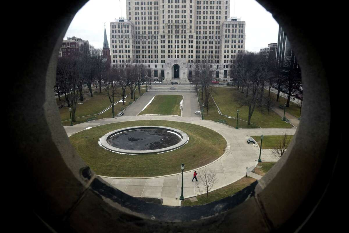 Another gray day is ahead in the Capital Region but meteorologist Jason Gough warns things could get messy by mid-week. In this photo, West Capitol Park is seen from the state library on Friday, Jan. 31, 2020, at the Capitol in Albany, N.Y. (Will Waldron/Times Union)