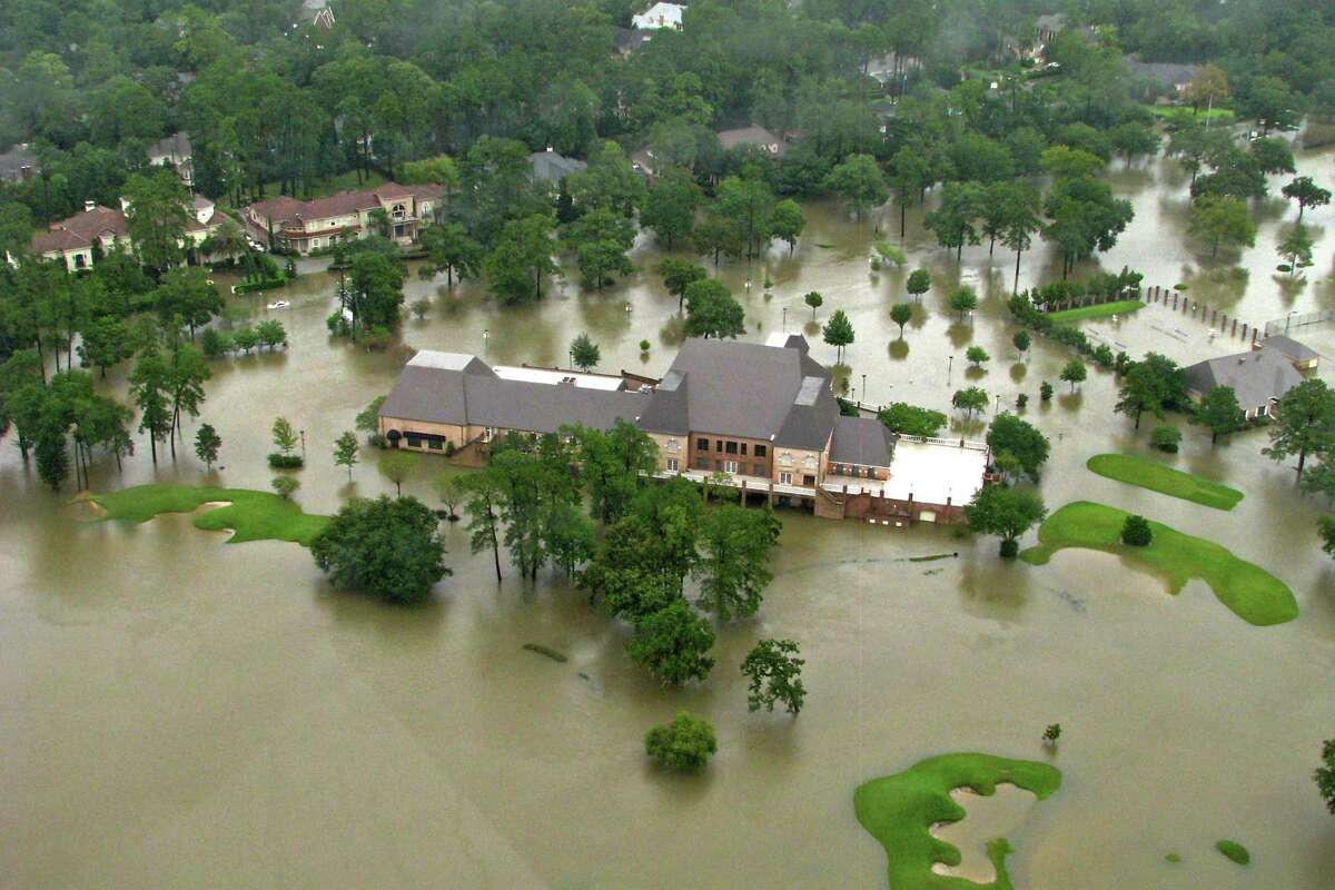 Raveneaux Country Club and golf course in the Champion Forest neighborhood after Hurricane Harvey in 2017.
