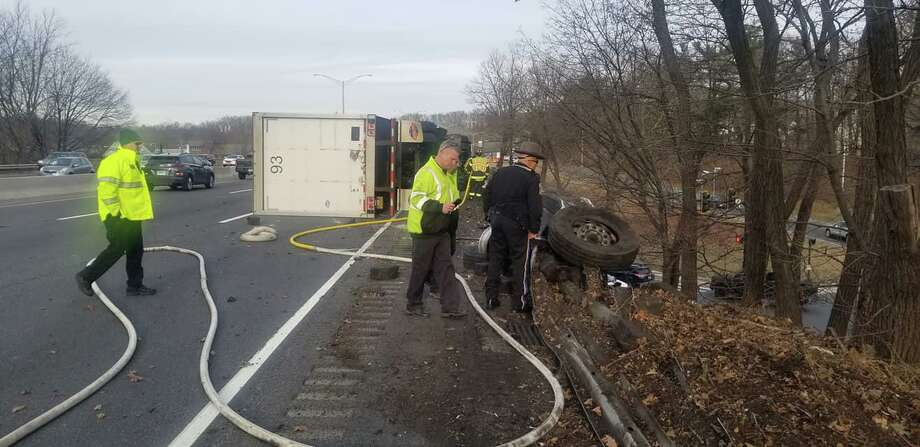 Emergency personnel at the scene of the overturned tractor-trailer on I-84 in Danbury on Jan. 30, 2020. Photo: Danbury Fire Department