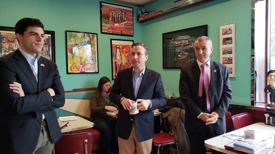 Speaking at the coffee, which was held at the Darien Diner and attended by about 30 people, was Senate Majority Leader Bob Duff, Sen. Carlo Leone, and State Rep. Matt Blumenthal. Photo: Sandra Diamond Fox / Hearst Connecticut Media / Connecticut Post