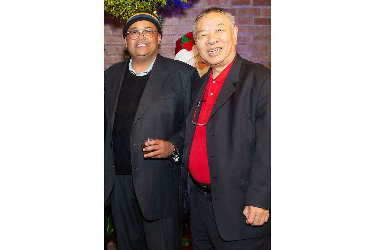Walter Wong, right, and Mohammed Nuru at an event in 2018. SAN FRANCISCO, CA - December 18 - Donna Luu, Malcolm Young, Elisa Stephens, Mohammed Nuru and Walter Wong attend Birthday Celebration for Elisa Stephens on December 18th 2018 at The Cannery in San Francisco, CA (Photo - Susana Bates for Drew Altizer Photography)