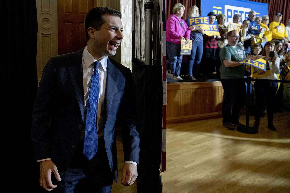 Democratic presidential candidate former South Bend, Ind., Mayor Pete Buttigieg arrives at a campaign stop at Hotel Winneshiek, Thursday, Jan. 30, 2020, in Decorah, Iowa. (AP Photo/Andrew Harnik)