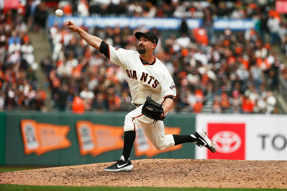 San Francisco Giants relief pitcher Nick Vincent (61) during an MLB game against the Tampa Bay Rays at Oracle Park on Friday, April 5, 2019, in San Francisco, Calif.