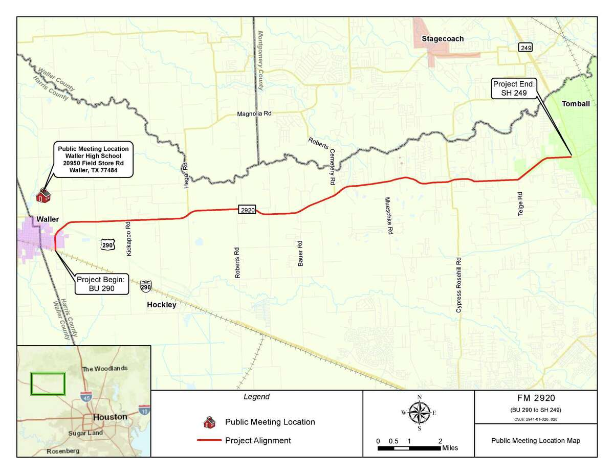 A map of the proposed widening of FM 2920