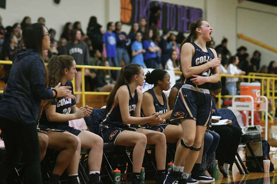 Klein Collins senior point guard Hannah Narvaez, right, celebrates a three point basket against Klein Oak during the first quarter of their District 15-6A matchup at KOHS on Jan. 24, 2020. Photo: Jerry Baker, Houston Chronicle / Contributor / Houston Chronicle