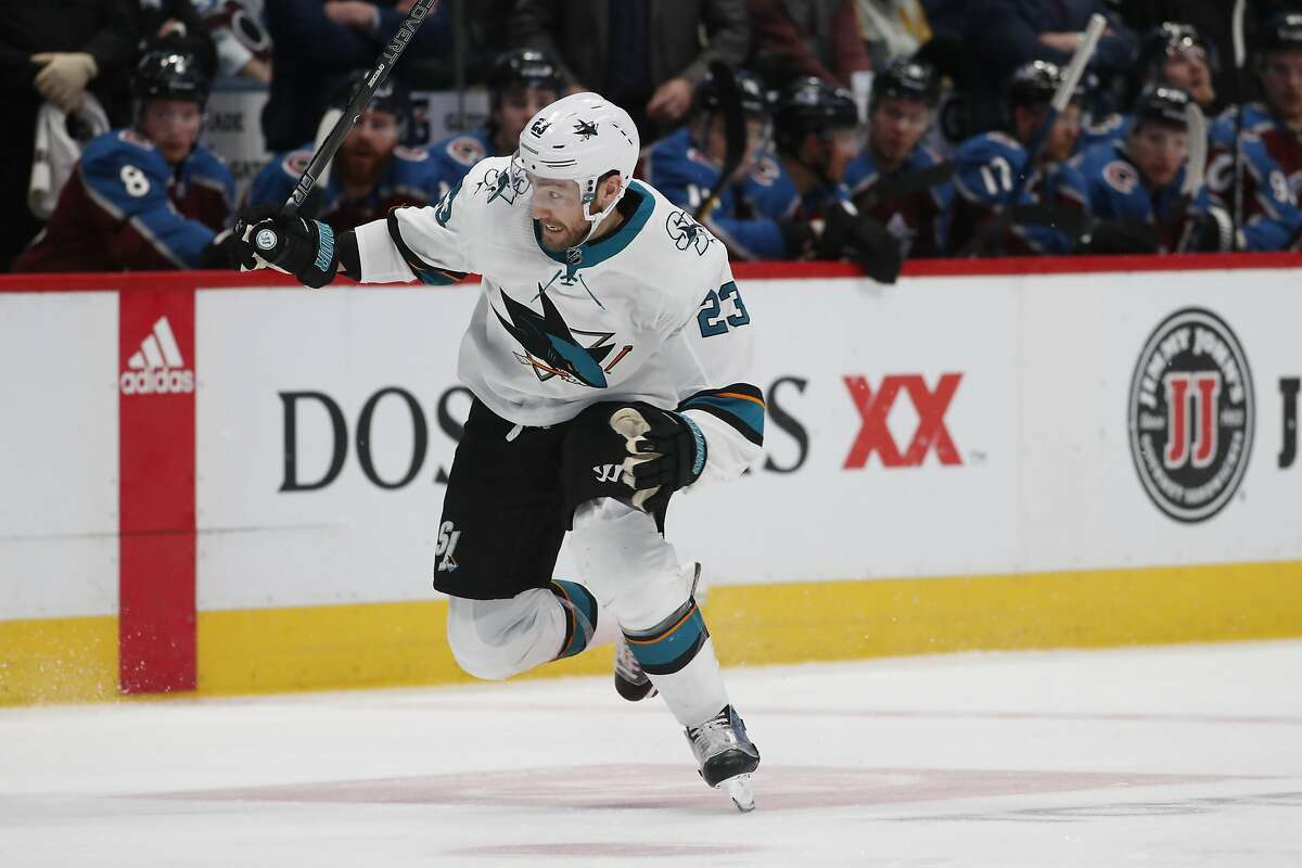 San Jose Sharks right wing Barclay Goodrow (23) in the second period of an NHL hockey game Thursday, Jan. 16, 2020, in Denver. (AP Photo/David Zalubowski)