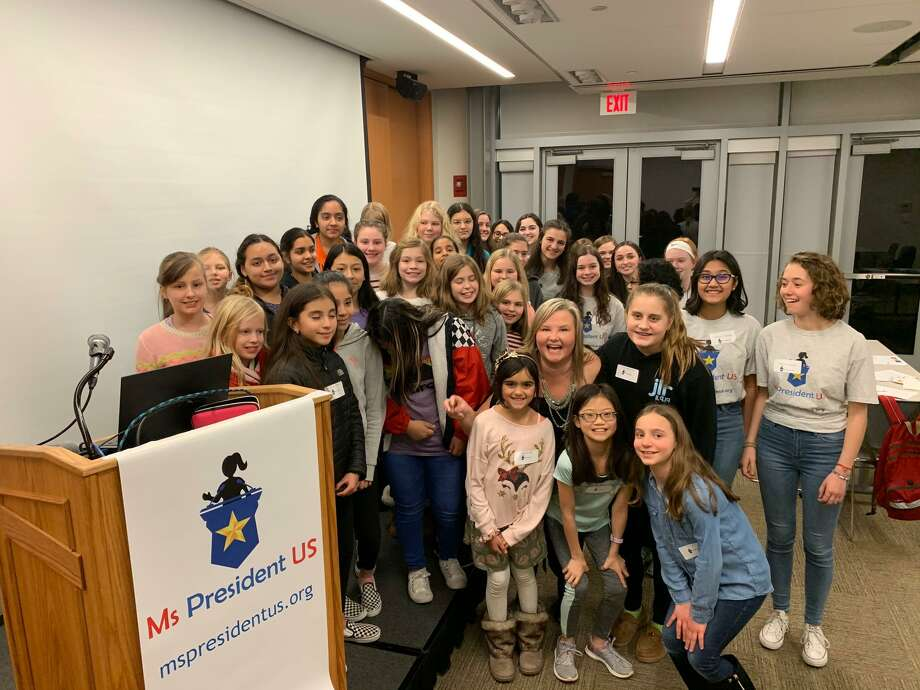 More than 30 girls attended a Ms. President US event Jan. 10 at the Ridgefield Library. Photo: Contributed Photo