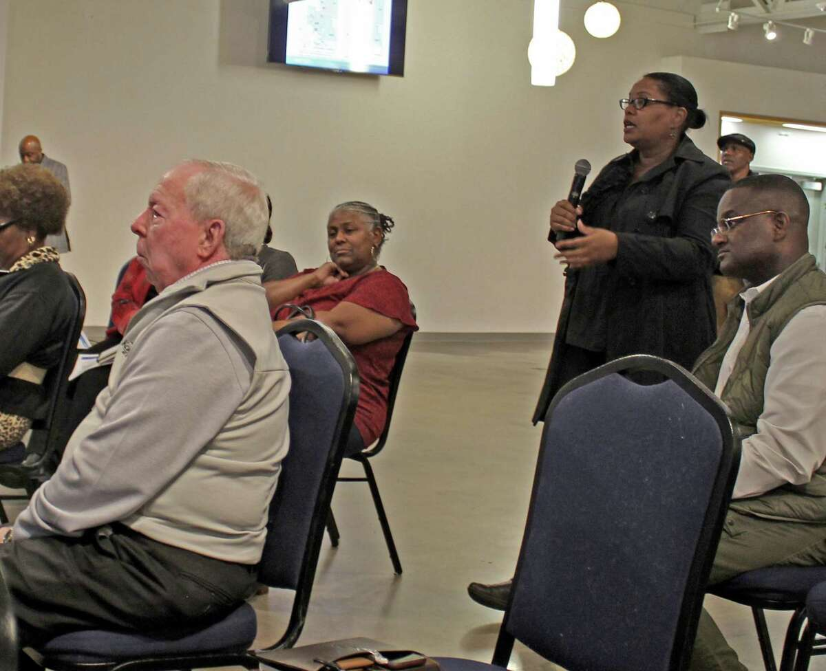 Missouri City Mayor Yolanda Ford (standing at center) speaks during a public meeting held to discuss changes to the city's bus services offered by Houston METRO on Tuesday, Jan. 28.