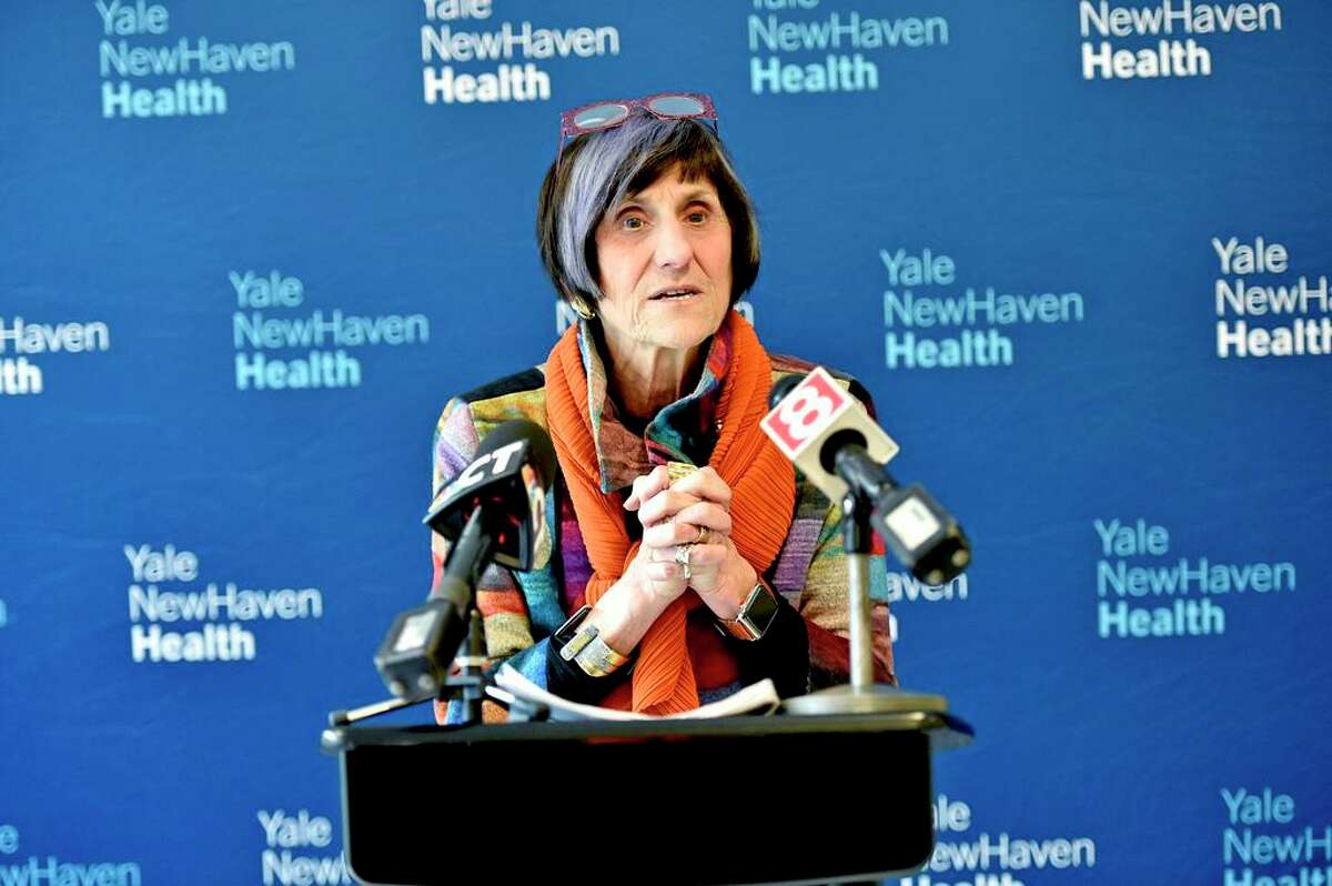 In this file photo, U.S. Rep. Rosa DeLauro, D-3, speaks during a press conference at Yale New Haven Hospital about the flu and coronavirus.
