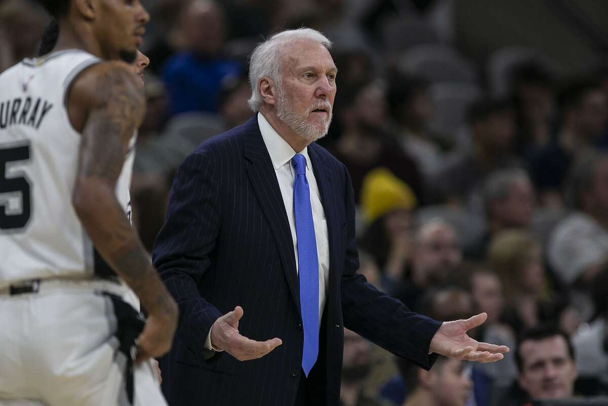 Spurs head coach Gregg Popovich questions a call against the Toronto Raptors at the AT&T Center on Jan. 26. On Friday, Popovich criticized President Donald Trump's response to the coronavirus crisis.