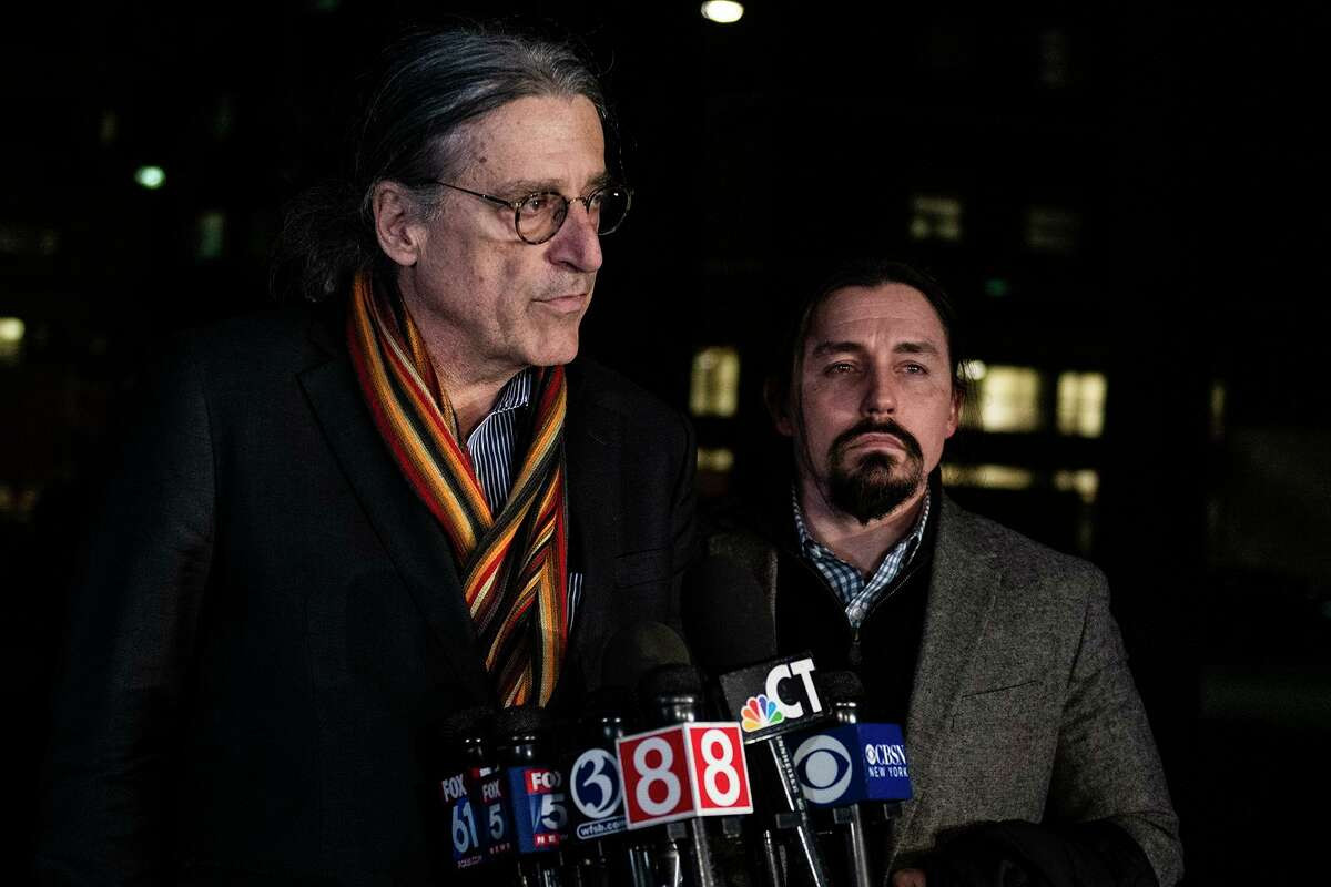 Fotis Dulos' attorney Norm Pattis stand with attorney Kevin Smith as he announces the death of Fotis Dulos, pronounced dead at 5:32 p.m. at Jacobi Medical Center Thursday, Jan. 30, 2020, in The Bronx, NY. (Kassi Jackson/Hartford Courant/TNS)