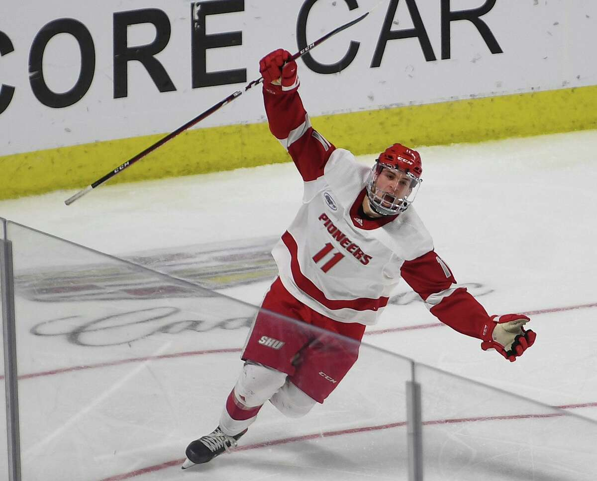Sacred Heart's Ryan Steele celebrates after his team's first goal in a three goal second period in the championship game with Quinnipiac in the Connecticut Ice college hockey tournament at the Webster Bank Arena in Bridgeport, Conn. on Sunday January 26, 2020.