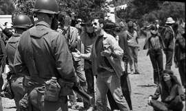 People's Park demonstrators are confronted by National Guard troops some protesters would be arrested, May18, 1969