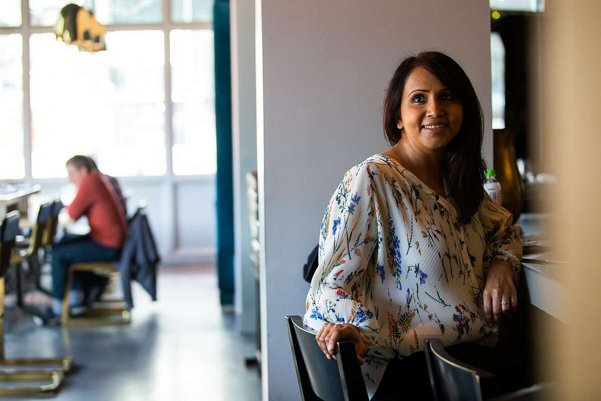 Hetal Shah, owner of August 1 Five, poses for a portrait in one of her blue booths at the restaurant on January 31, 2020 in downtown San Francisco, CA. Shah quit her job at Google three years ago to pursue her passion for food and start her first restaurant.